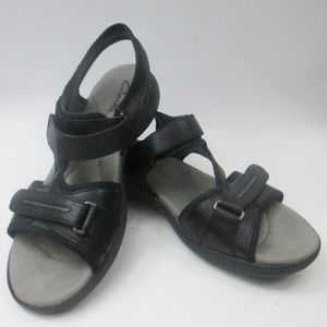 Clarks Sport Sandals Black Leather Strappy